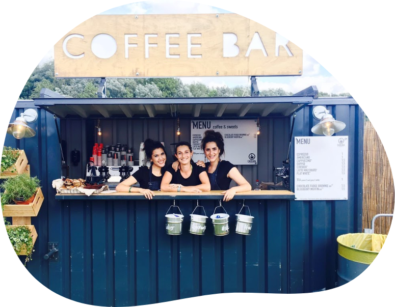 Koffiebar in container huren voor events en festivals