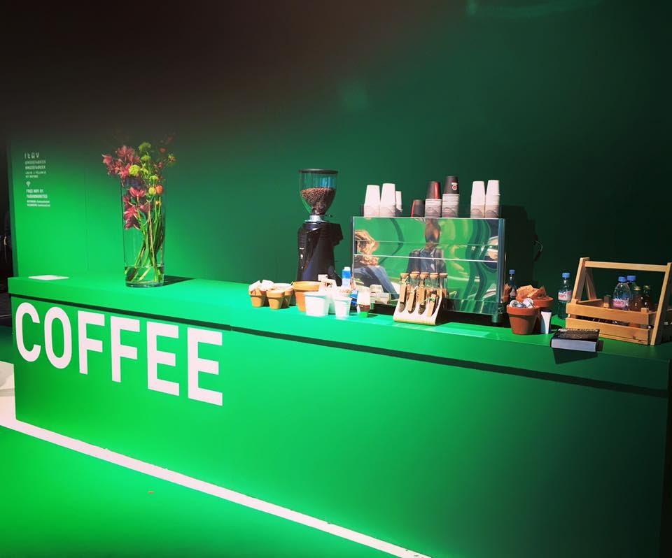 Een espressobar tijdens de modefabriek